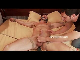 Gay hunk looses control given handjob