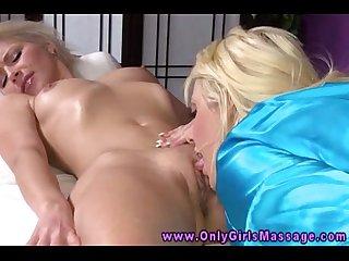 Blonde dyke lesbian taste clients pussy