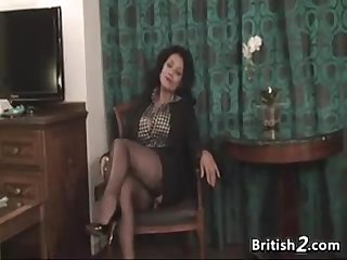 Thick british woman strips and masturbates