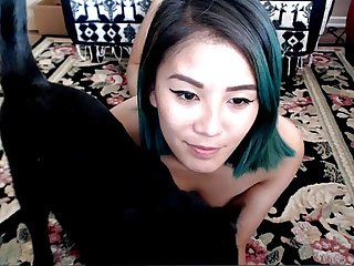 Horny Asian with Blue-hair sucks Dildo on cam - GirlTeenCams.com