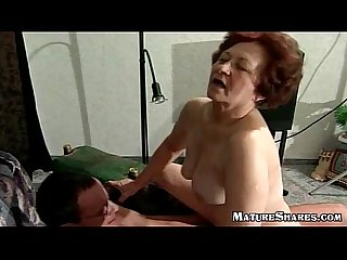 Slutty granny trying a new Kamasutra position