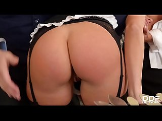 Hair pulling double penetration gives submissive maid mea melone orgasms