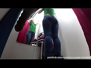 A girl with a beautiful ass in tight jeans got on a hidden camera in a dressing room at a..
