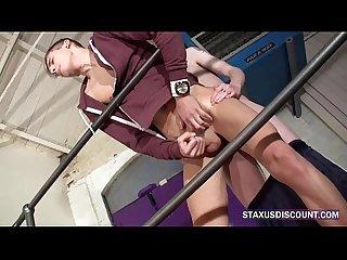 Teen gay jocks fuck in stairwell