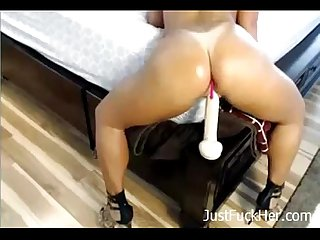 Mom riding her favourite dildo on bed justfuckher com
