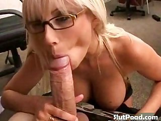 Bespectacled beauty blowing rock hard boner