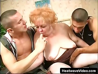 These two young guys want to fuck old granny's pussy and mouth