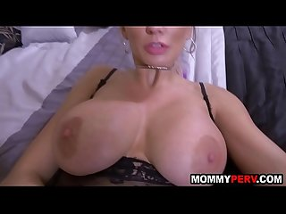 Hot milf mom comes to son's bed for sex and facial