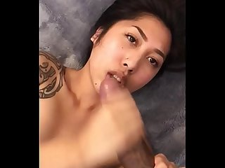 Asian takes big black dick load to the face