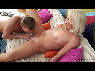 Big assed granny Anett riding her lover's cock