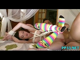 Sweet slut with rainbow socks gets fuck