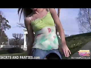 Pigtailed teen Milena wants to show you her panties