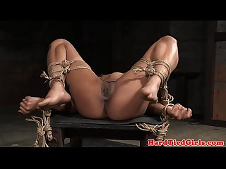 Tiedup ebony sub facefucked and flogged