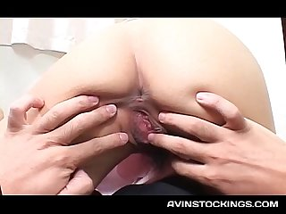 Passionate jap nurse in stockings cunt fingered by horny patient