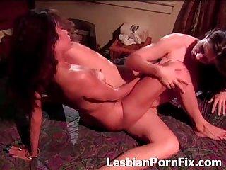Horny lesbians scissor pussies