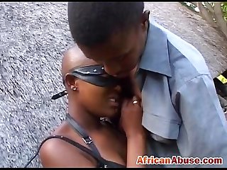African girl bonded and abused by black guy with huge black cock