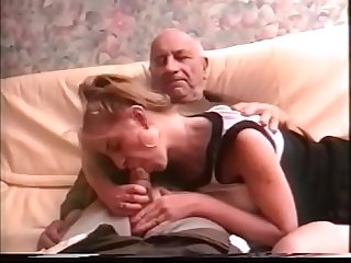 grandpa gets sucked by his grandson's girlfriend