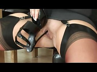 Mature lingerie slut fingering herself