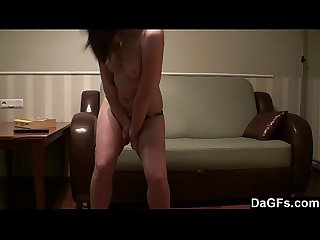 Stripping makes her pussy so wet