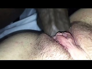 Close up of my black cock sliding in Aerione�s pussy until I cum on her clit