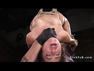 Restrained hottie made to cum in bondage