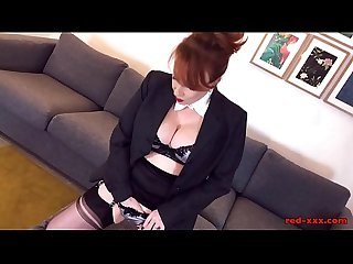 Red stuffs her panties inside herself then masturbates