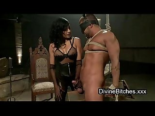 Mummified guy dick jerkd off by mistress