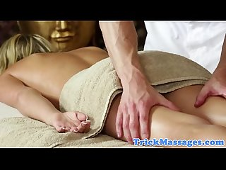 Massage babe unaware of masseurs cock