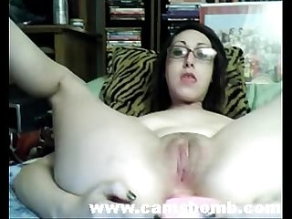 Teen with glasses double dildo masturbation www camsbomb com