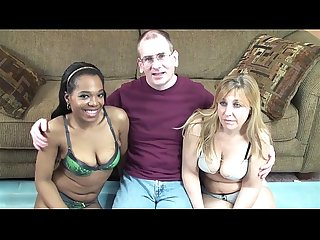 Black and white mature women share a cock