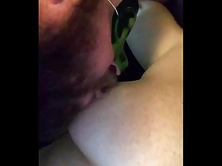 Licking whipped cream off amateur wife�s tits and pussy