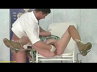 Hairy 92 years old Granny rough fisted by A doctor