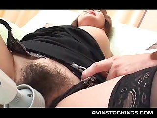 Stockinged jap milf pussy vibed and finger fucked in close up