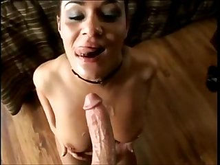 Teen sucks a big shaft