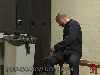 Janitor bounds and fucks guy in locker room
