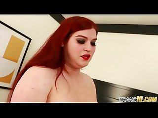Chubby redhead tgirl doggystyles in stockings