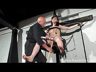 Crossed bondage tit tortures and sexual domination of screaming brunette fetish