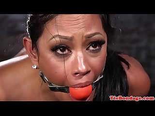 Gagging latina sub squirting while pussytoyed