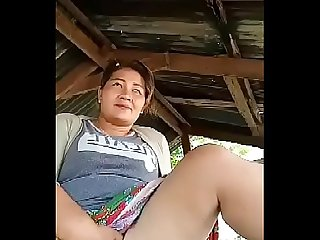 Thai aunty flashing outdoor