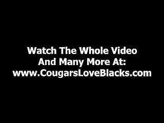 Sexy interracial cougar takes big black dick