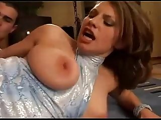 Amazing busty brunette german girl fucked hard on the couch BIG TITS