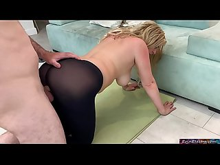 Stepmom gets fucked by stepson while doing yoga to help his porn addiction - Erin Electra