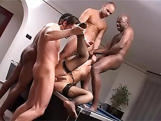 Cute brunette abused by a black gang