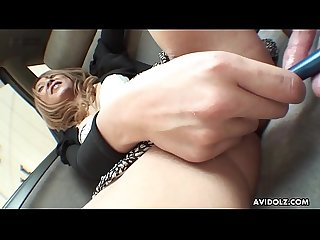 Japanese amateur brunette, Nao is masturbating in the car, uncensored