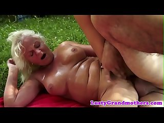 Busty european grandma assfucking outdoors