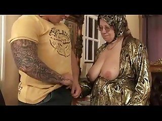 Old woman strips and get fucked hard by younger guy