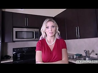 Stepmom Kenzie Taylor begs to deepthroats stepsons huge cock while wearing handcuffs.She..