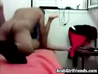 Arab girlfriend blowjob close up bedroom fucking
