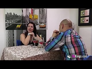 A model gets fucked by an ugly bald guy while the waiters bang each other