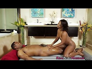 Ebony nuru masseuse bangs
